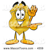 Mascot Cartoon of a Cute Badge Mascot Cartoon Character Waving and Pointing by Toons4Biz