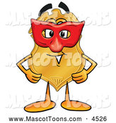 Mascot Cartoon of a Cute Badge Mascot Cartoon Character Wearing a Red Mask over His Face by Toons4Biz