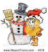 Mascot Cartoon of a Cute Badge Mascot Cartoon Character with a Snowman on Christmas by Toons4Biz