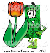 Mascot Cartoon of a Dollar Bill Mascot Standing by a Red Tulip Flower by Toons4Biz