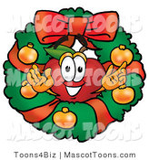 Mascot Cartoon of a Festive Nutritious Red Apple Character Mascot in the Center of a Christmas Wreath by Toons4Biz
