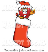 Mascot Cartoon of a Festive Red Apple Character Mascot Wearing a Santa Hat Inside a Red Christmas Stocking by Toons4Biz