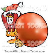 Mascot Cartoon of a Festive Red Apple Character Mascot Wearing a Santa Hat, Next to a Christmas Bauble by Toons4Biz