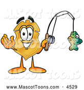 Mascot Cartoon of a Friendly Badge Mascot Cartoon Character Holding a Fish on a Fishing Pole by Toons4Biz