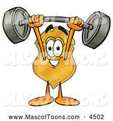 October 9th, 2013: Mascot Cartoon of a Friendly Badge Mascot Cartoon Character Holding a Heavy Barbell Above His Head by Toons4Biz