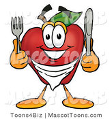 Mascot Cartoon of a Friendly Hungry Red Apple Character Mascot Wearing a Napkin, Holding a Fork and Knife by Toons4Biz