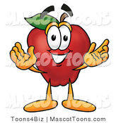 Mascot Cartoon of a Friendly Red Apple Character Mascot with Open Arms While Greeting Someone by Toons4Biz