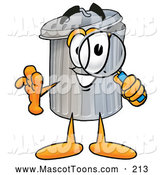 November 19th, 2013: Mascot Cartoon of a Garbage Can Mascot Looking Through a Magnifying Glass by Toons4Biz