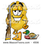 October 3rd, 2013: Mascot Cartoon of a Grinning Badge Mascot Cartoon Character Duck Hunting, Standing with a Rifle and Duck by Toons4Biz
