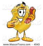 Mascot Cartoon of a Grinning Badge Mascot Cartoon Character Holding a Telephone by Toons4Biz
