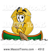 September 28th, 2013: Mascot Cartoon of a Grinning Badge Mascot Cartoon Character Rowing a Boat by Toons4Biz