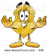 Mascot Cartoon of a Happy and Outgoing Badge Mascot Cartoon Character with Welcoming Open Arms by Toons4Biz