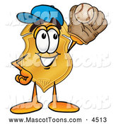 Mascot Cartoon of a Happy Badge Mascot Cartoon Character Catching a Baseball with a Glove by Toons4Biz