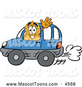 Mascot Cartoon of a Happy Badge Mascot Cartoon Character Driving a Blue Car and Waving by Toons4Biz