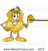 Mascot Cartoon of a Happy Badge Mascot Cartoon Character Holding a Pointer Stick by Toons4Biz