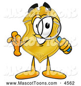 Mascot Cartoon of a Happy Badge Mascot Cartoon Character Looking Through a Magnifying Glass by Toons4Biz