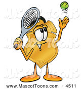 September 29th, 2013: Mascot Cartoon of a Happy Badge Mascot Cartoon Character Preparing to Hit a Tennis Ball by Toons4Biz