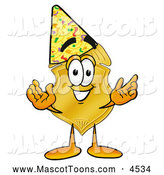 Mascot Cartoon of a Happy Badge Mascot Cartoon Character Wearing a Birthday Party Hat by Toons4Biz