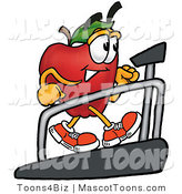 Mascot Cartoon of a Healthy and Sporty Red Apple Character Mascot Walking on a Treadmill in a Fitness Gym by Toons4Biz