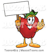Mascot Cartoon of a Healthy Red Apple Character Mascot Holding a Blank White Sign over His Head by Toons4Biz