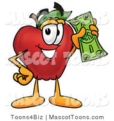 Mascot Cartoon of a Healthy Red Apple Character Mascot Holding a Green Dollar Bill, Paying or Saving by Toons4Biz