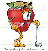 Mascot Cartoon of a Healthy Red Apple Character Mascot Leaning on a Golf Club While Golfing by Toons4Biz