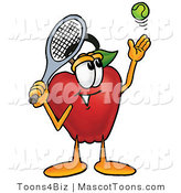 Mascot Cartoon of a Healthy Red Apple Character Mascot Preparing to Hit a Tennis Ball by Toons4Biz