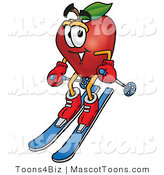 Mascot Cartoon of a Healthy Red Apple Character Mascot Skiing Downhill by Toons4Biz