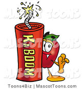 Mascot Cartoon of a Healthy Red Apple Character Mascot Standing with a Stick of Dynamite Explosives by Toons4Biz