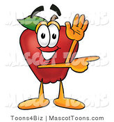 Mascot Cartoon of a Healthy Red Apple Character Mascot Waving and Pointing to the Right by Toons4Biz