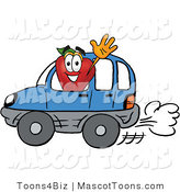 Mascot Cartoon of a Healthy Red Apple Character Mascot Waving to a Friend While Driving by in a Blue Car by Toons4Biz