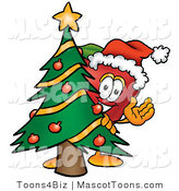 Mascot Cartoon of a Healthy Red Apple Character Mascot with a Decorated Christmas Tree by Toons4Biz