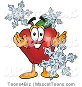 Mascot Cartoon of a Healthy Red Apple Character Mascot with Icy Snowflakes in Winter by Toons4Biz