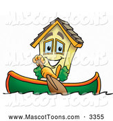 Mascot Cartoon of a House Mascot in a Row Boat by Toons4Biz