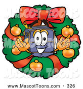 November 18th, 2013: Mascot Cartoon of a Luggage Mascot in a Christmas Wreath by Toons4Biz