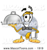 November 29th, 2013: Mascot Cartoon of a Moon Mascot Waiter and Holding a Serving Platter by Toons4Biz