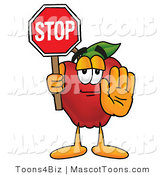 July 11th, 2012: Mascot Cartoon of a Nutritious and Helpful Red Apple Character Mascot Holding a Red Stop Sign by Toons4Biz