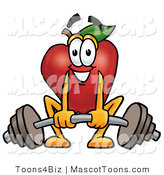 Mascot Cartoon of a Nutritious and Strong Red Apple Character Mascot Lifting a Heavy Barbell by Toons4Biz