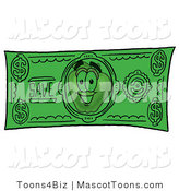 Mascot Cartoon of a Nutritious Apple Character Mascot on a Green Dollar Bill by Toons4Biz