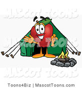 Mascot Cartoon of a Nutritious Red Apple Character Mascot Camping with a Tent and a Fire by Toons4Biz