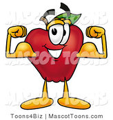 Mascot Cartoon of a Nutritious Red Apple Character Mascot Flexing His Arm Bicep Muscles by Toons4Biz