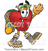 Mascot Cartoon of a Nutritious Red Apple Character Mascot Hiking and Carrying a Backpack by Toons4Biz