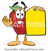 Mascot Cartoon of a Nutritious Red Apple Character Mascot Holding a Blank Yellow Price Tag for a Sale by Toons4Biz