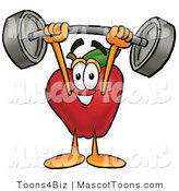 Mascot Cartoon of a Nutritious Red Apple Character Mascot Holding a Heavy Barbell Above His Head by Toons4Biz
