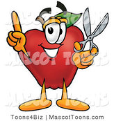 Mascot Cartoon of a Nutritious Red Apple Character Mascot Holding a Pair of Scissors by Toons4Biz
