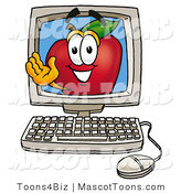 Mascot Cartoon of a Nutritious Red Apple Character Mascot on a Desktop Computer Screen by Toons4Biz