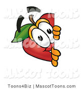 Mascot Cartoon of a Nutritious Red Apple Character Mascot Peeking Around a Corner and Spying on Someone by Toons4Biz