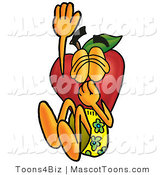 Mascot Cartoon of a Nutritious Red Apple Character Mascot Plugging His Nose While Jumping into Water by Toons4Biz