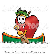 Mascot Cartoon of a Nutritious Red Apple Character Mascot Rowing a Boat by Toons4Biz
