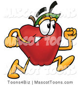Mascot Cartoon of a Nutritious Red Apple Character Mascot Running in a Hurry by Toons4Biz